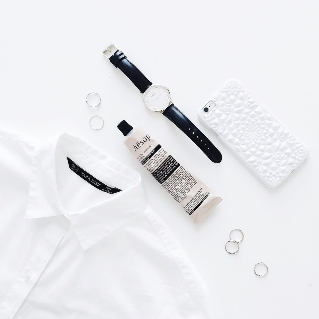 instagram flat lay photo white
